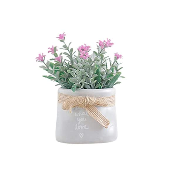 Hemgk Oyedens Artificial Flower Outdoor Living Room Tabletop Fake Flower Plant Set with Potted Artificial Flowers in Vase Pots, for Home Decoration, Cemetery, Arrangements