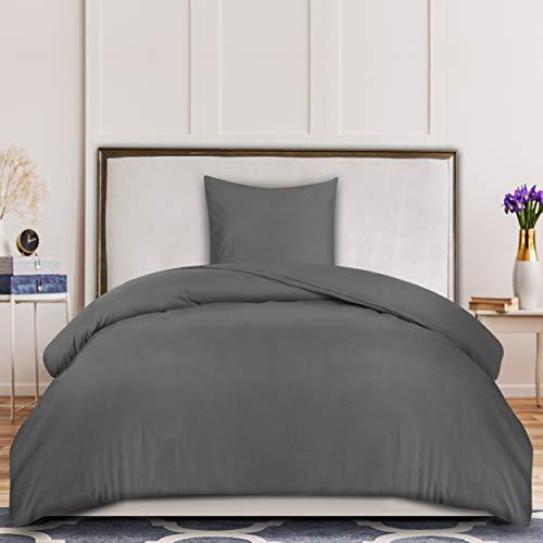 Utopia Bedding Bettwäsche-Set - Mikrofaser Bettbezug 135x200 cm und 1 Kopfkissenbezüge 80x80 cm - Grau Bettbezüge Set mit Reißverschluss