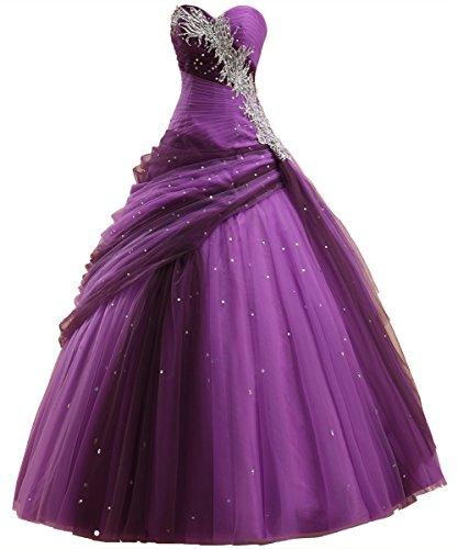 Callmelady Ballkleid Abendkleider Lang Abiballkleider Damen Abschlussballkleider (Purpurrot, EU42)