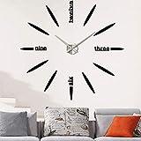 XBI DIY Reloj de Pared 3D, Relojes de Pared Modernos de Bricolaje, 3D Relojes de Pared Espejo Pegatina DIY Frameless Gran Reloj de Pared Números Romanos para salón Oficina de Cocina Silver