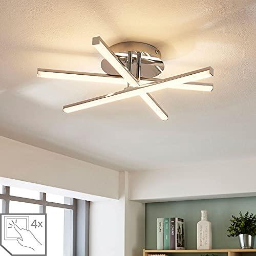Lindby LED Deckenleuchte 'Korona' dimmbar (Modern) in Chrom aus Metall u.a. für Wohnzimmer & Esszimmer (3 flammig, A+, inkl. Leuchtmittel) - Lampe, LED-Deckenlampe, Deckenlampe, Wohnzimmerlampe