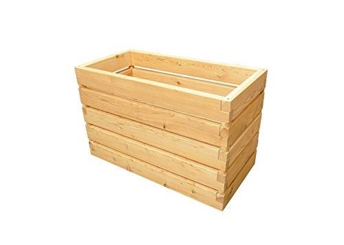 Gartenallerlei Hochbeet Lamella Größe 1-130,5x60,5x77cm, Aufbausatz aus Lärchenholz mit Noppenfolie, Nagergitter und Belüftungsschlitzen, ergonomisch und rückenschonend