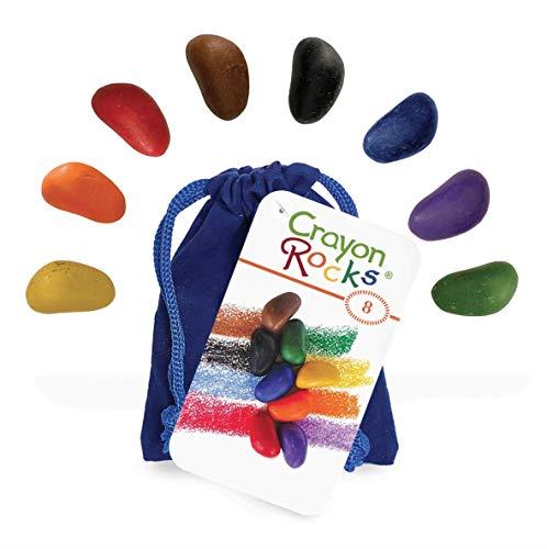 Crayon Rocks - Ungiftige kinder Soya-Wachsmalstifte [Stiftgriff anregend] - dauerhaftige Kreide in einer Blauen samt -Tasche - 8 natürliche wachsbar Farben - Zeichnen auf Papier und Stoff