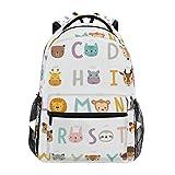 Mochila escolar casual com alfabeto de animais engraçados, leve, para viagem, faculdade, bolsa de ombro para mulheres, meninas e adolescentes