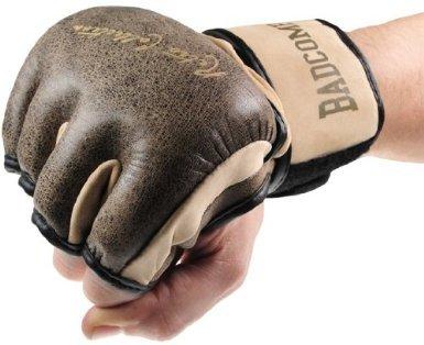 Bad Company Retro Rindsleder MMA Handschuhe I Leder Trainingshandschuhe ohne Finger I Gr. M