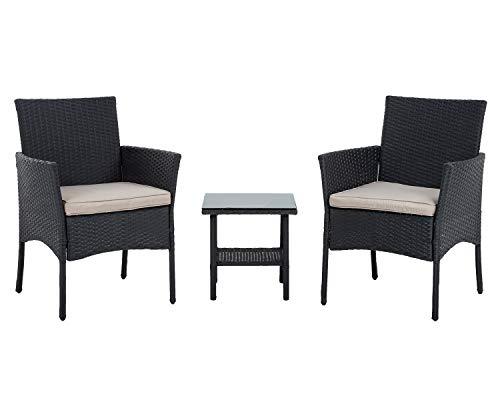 FDW Wicker Patio Furniture 3 Piece Patio Set Chairs Bistro Set Outdoor Rattan Conversation Set for Backyard Porch Poolside Lawn,Black