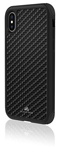 Black Rock - Robust Hülle Real Carbon Hülle für Apple iPhone X/Xs | Cover, Leder Handyhülle, kabelloses Laden, Fiber, TPU, Silikon (Schwarz)