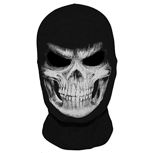 WTACTFUL Scary Skeleton Skull Balaclava Ghost Death Face Mask Headwear Protection for Motorcycle Cycling Skiing Snowboarding Cosplay Costume Halloween Party Winter/Summer Black