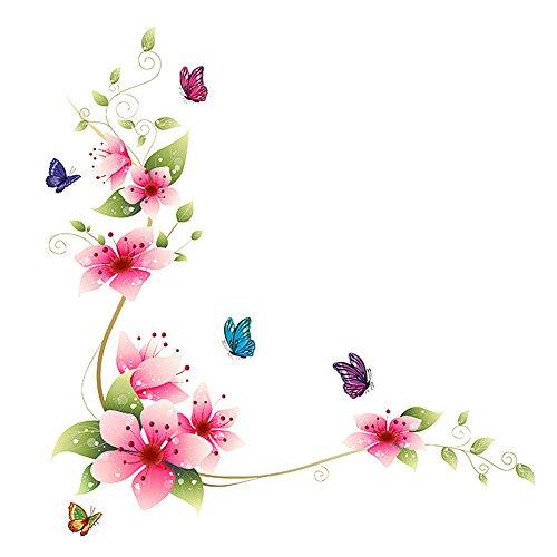 Demiawaking Fiori Farfalla Autoadesivo della Finestra Autoadesivo di Vetro Paste di Vetro Adesivo da Parete da Bagno 25 X 70cm