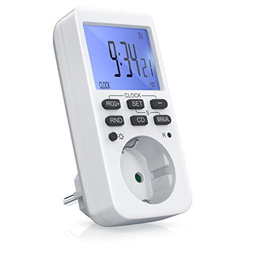 CSL - Zeitschaltuhr digital - mit LCD-Display Beleuchtet - 10 konfigurierbare Programme - LED-Statusanzeige - Zufallsschaltung - 12 24h-Modus - Wochenzeitschaltuhr - 3680W