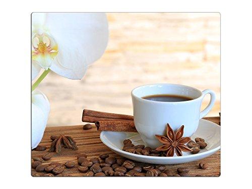 Herdabdeckplatte Schneidebrett Spritzschutz aus Glas, Multi-Talent HA63333715 Orchidee Kaffee Variante Einteilig (1 Panel)