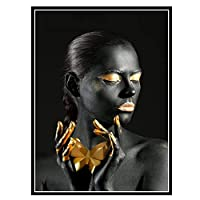 COWIAHE アフリカンブラックアンドゴールデンガールアートウォールキャンバスポスタープリントリビングルーム家の装飾-50X70CMフレームなし1個