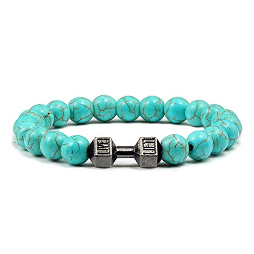 RQQDSZ Natural Stone Turquoises Green Blue Beads Dumbbell Bracelets Buddha Elastic Fitness Life Sport Barbell Couple Bracelet Men Women