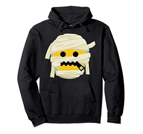 Mumie Emoji Reißverschluss Mund Kostüm Halloween Geschenk Pullover Hoodie