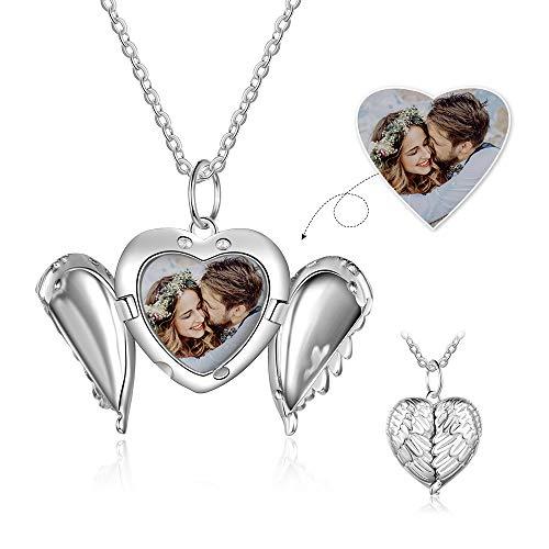 Personalisiert Sterling Silber Medaillon Halskette Engel Flügel Angepasst Foto Herz Anhänger Halsketten...