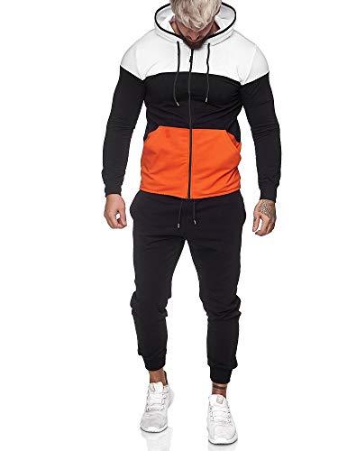 OneRedox | Herren Trainingsanzug | Jogginganzug | Sportanzug | Jogging Anzug | Hoodie-Sporthose | Jogging-Anzug | Trainings-Anzug | Jogging-Hose | Modell JG-1083 Weiss-Schwarz-Orange XXL