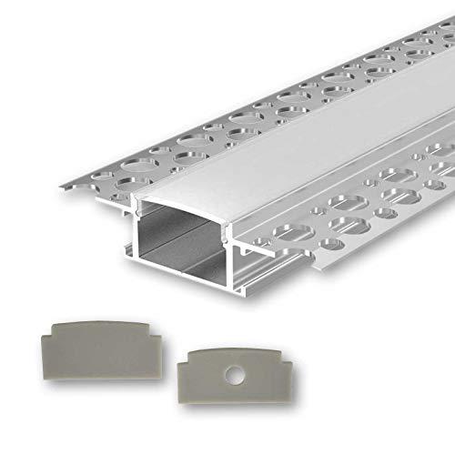 KIZAR U-Profil Aluminium LED eloxiert | L - 2m x B - 2,85cm x H - 1,40cm | Alu Kanal für LED Streifen + Acryl Abdeckung milchig-weiß + 2X Endkappen | Aluprofil für Stripes bis 20mm Breite +belastbar