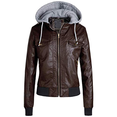 GreatestPAK Damen Slim Lederjacke Reißverschluss Warm Short Removable Hooded Coats Outwear,Kaffee,CN:M
