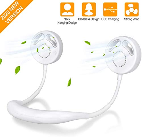 TAECCL Hand Free Personal Fan, Bladeless Portable Fan 100% Safe USB Rechargeable Mini Fan 3 Wind Speeds Wearable Neckband Fan 360 Degree Free Rotation Perfect for Sports, Office and Outdoor (White)