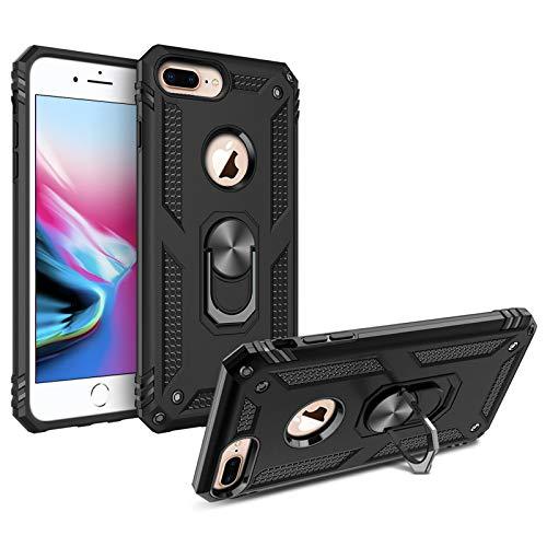 DOSMUNG Cover Compatibile con iPhone 8 Plus/7 Plus/6 Plus, Militare Case con Ring Kickstand Rotante a 360 Gradi [Anti-Scivolo] [Anti Graffio] Custodia per iPhone 8 Plus/7 Plus/6 Plus, Nero