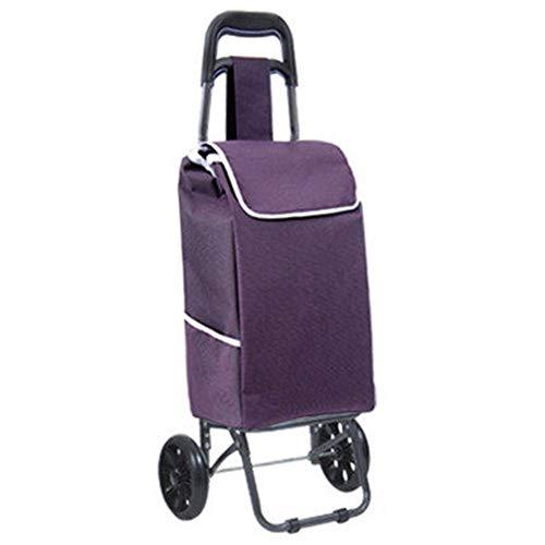 Lightweight Shopping Trolley,Einkaufswagen Auf 2 Weel Mit Abnehmbarer Tasche Zusammenklappbarer Trolley-Tasche Robusten Und Wasserdichtes Doppel Oxford Cloth-Material,Lila