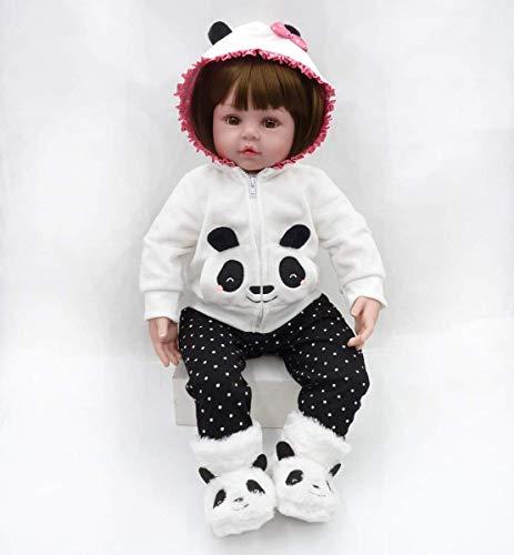 TERABITHIA 19 Zoll 48cm Cute Real Life Wiedergeboren Babypuppe, Schöne Panda Mädchen Puppen Aus Silikon Vinyl Und Gefüllte Stoff