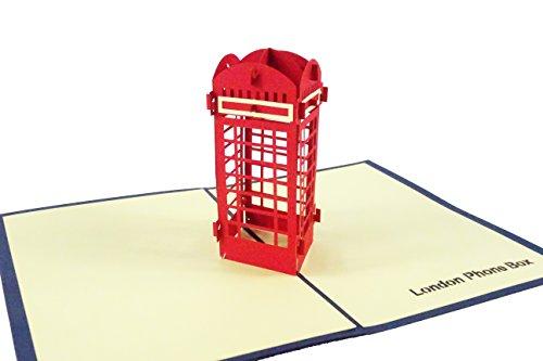 London Phonebooth Design 3D Pop Up Di Biglietto D' Auguri Di Compleanno In Scatola Di Londra Phone Booth Gift London Souvenir Blue Cover