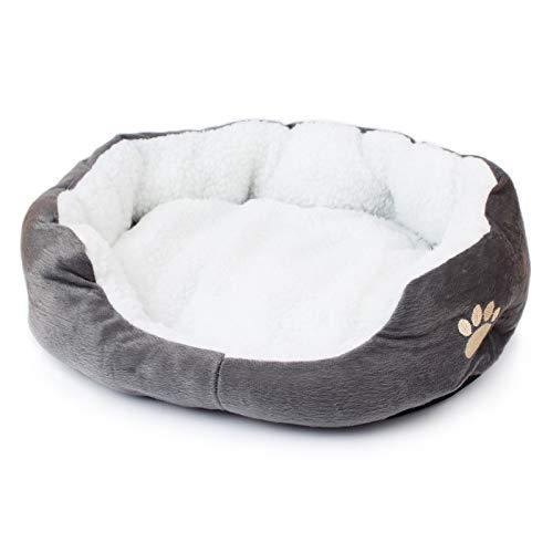 Lenle Hundebett, warm, Wolle, wasserfest, weich, aufblasbar, Kätzchen, Baumwolle grau
