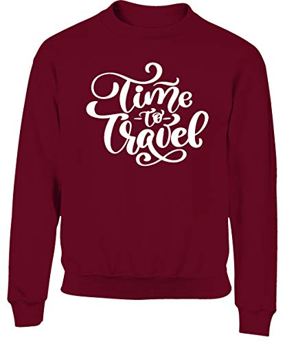 Hippowarehouse Time to Travel Kids Children's Unisex Jumper Sweatshirt Pullover Maroon