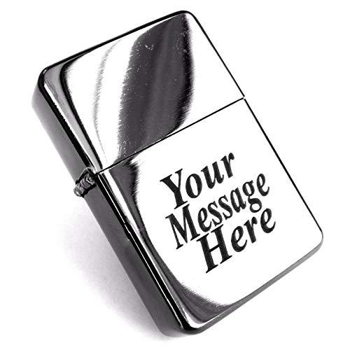 Mechero de gasolina resistente al viento, incluye grabado láser y bolsa de regalo de terciopelo negro, adecuado para bodas, cumpleaños, Día del Padre, regalo, personalizado