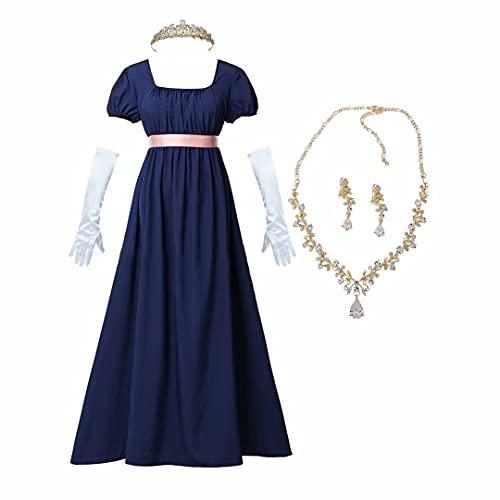 Disfraz de Cosplay de la era de la regencia Vestido renacentista Vestido Vintage para Mujer con Faja de satén con Volantes Vestidos de época romántica Vestido de Manga de Burbuja Vestido de Cuello