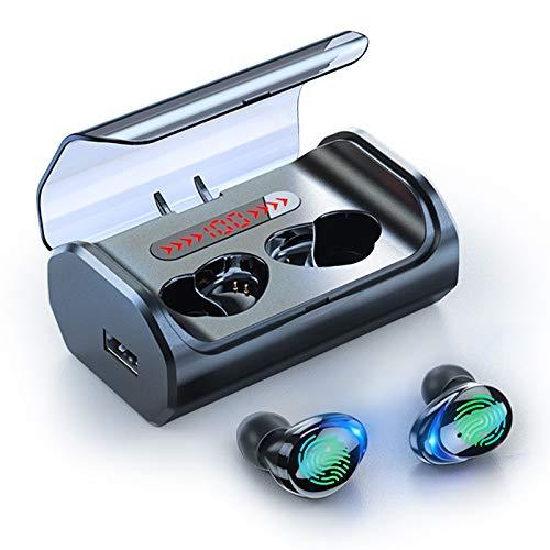 Zoe home Bluetooth estéreo for Auriculares 5.0 Touch Control Headphons HD inalámbrico de Auriculares a Prueba de Agua con la exhibición de 2500 mAh de Carga del LED Caja (Color : Black)