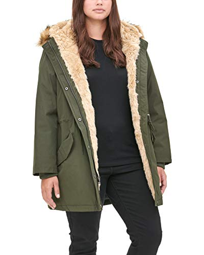 Levi's Women's Arctic Cloth Heavyweight Performance Faux Fur Parka Jacket, olive, Medium