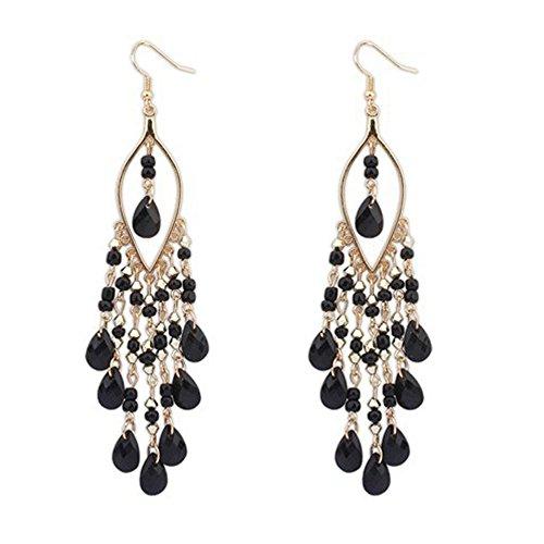 LABIUO Women Crystal Bohemian Earring Bunte Perlenquaste Anhänger Ohrringe(Schwarz,Freie Größe)