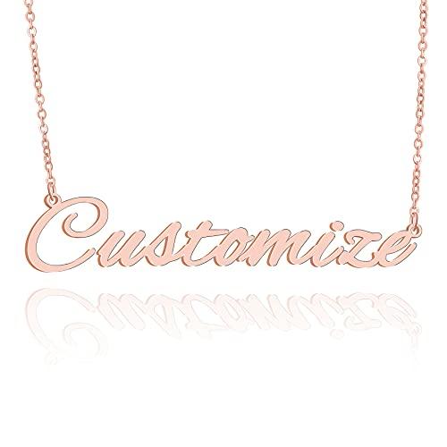 Donna Collana Oro rosa Personalizzata Custom Collana con Nome Targhetta Moda Gioielleria da donna Unisex Necklace