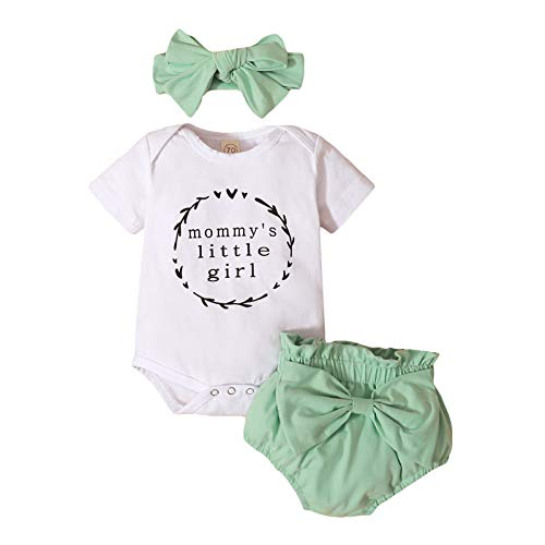 3 piezas recién nacidas ropa de verano impresión carta manga corta mameluco bodysuit+pantalones cortos con bowknot trajes