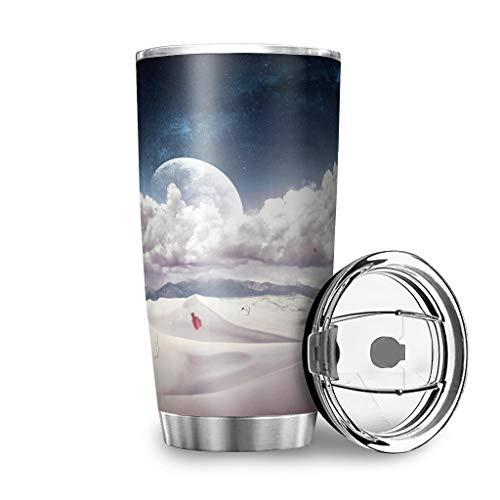 Generic Branded Botella de agua Tumbler Fantasy Chica Desrt Nubes Planet Paisaje Impresión Coche...