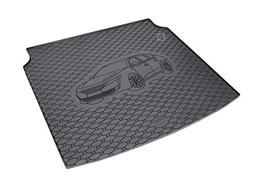 Passgenau Kofferraumwanne geeignet für Peugeot 508 SW/Kombi ab 2019 ideal angepasst schwarz Kofferraummatte + Gurtschoner