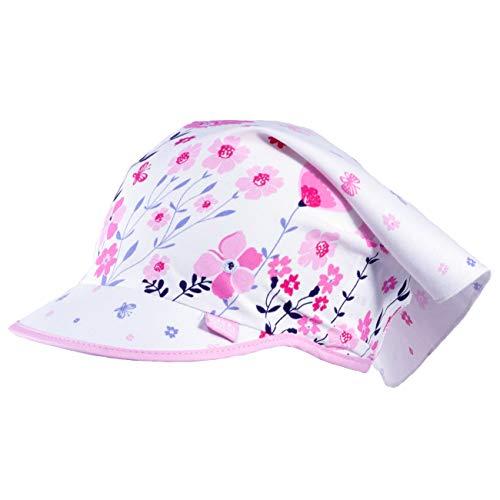 Galeja Tutu Mädchen Kopftuch weiß/rosa 44-50 Kinder Mütze Frühling Sommer Blume 100% Baumwolle UV-Schutz 30+