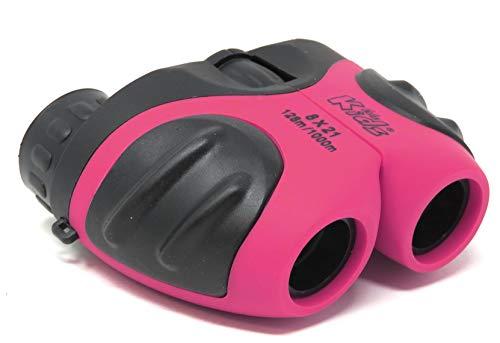 Edz Kidz Verrekijker 8x21 Zoom. Compact, stevig, waterdicht en schokbestendig met rubberen grip (Roze)