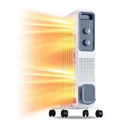 MELLCOM Oil Heater Oil Filled Radiator Space Heater, Indoor Quiet Heater with 3 Heat Settings Allergy-Friendly Adjustable Digital Thermostat, Overheat Protection Radiator Heater 1200W