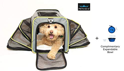 PETS GO2 Pet Carrier for Dogs & Cats | Best Airline-Approved Dog Travel Bag for Pet Safety & Security | Adjustable Carrier Size for a Small. Medium, or Large Dog, Cat, Bird, or Guinea Pig | Grey