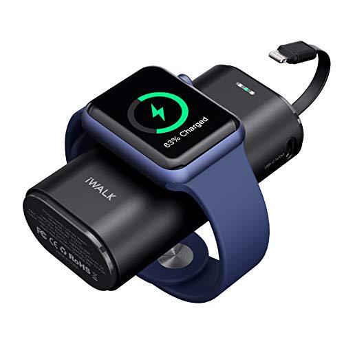 iWALK Ladestation Apple Watch Und iPhone,Tragbares LadegeräT FüR Apple Watch, 9000mAh Powerbank Mit Eingebautem Kabel, Kompatibel Mit Apple Watch Series 6/SE/5/4/3/2, iPhone 12/11/XR/Xs/X/8/7/6S