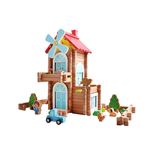 LIUFS-JOUET Maison Cadeau Maison Cottage Cadeau Enfants Blocs De Construction Jouets Puzzle en Bois Assemble Maison Villa (Taille : Windmill Small Courtyard - 171)