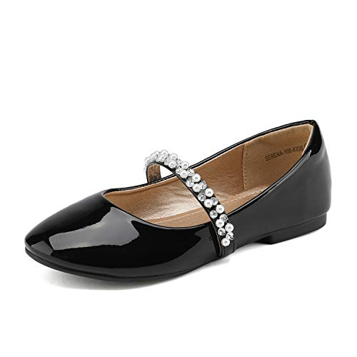 DREAM PAIRS Little Kid Serena-100-Black Pat Girl's Mary Jane Ballerina Flat Shoes - 11 M US Little Kid