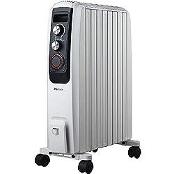 Pro Breeze 2000W Ölradiator - elektrischer, energiesparender Heizkörper mit 8 Rippen, integrierter Zeitschaltuhr, 3 Heizstufen, regulierbaren Thermostat und Sicherheitsabschaltfunktion