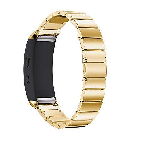 kompatible Samsung Gear Fit2 Pro Armband 22mm,Solid Edelstahl Metall Ersatzarmband Uhrenarmbänder Edelstahlband Sport Armband Handgelenk Uhrenarmband Armband (Gold)