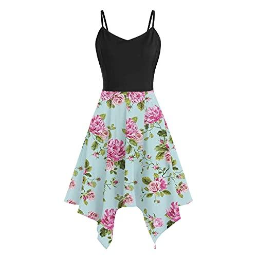 Kleider Damen Sommer Ronamick Damen Sommer Solid lässig ärmelloses Kleid(M, Grün)