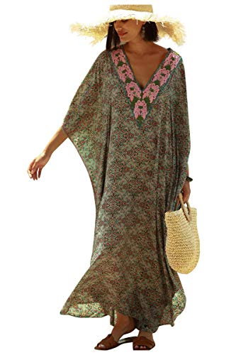 Tunique Longue Femme été Grande Taille Hippie Chic Robe Imprime Africain Caftan Indien Kaftan Long Kimono Ethnique Cache Maillot de Bain Poncho Motif Fleur Pareo Plage Bikini Cover Up ZSCPDN0337GN