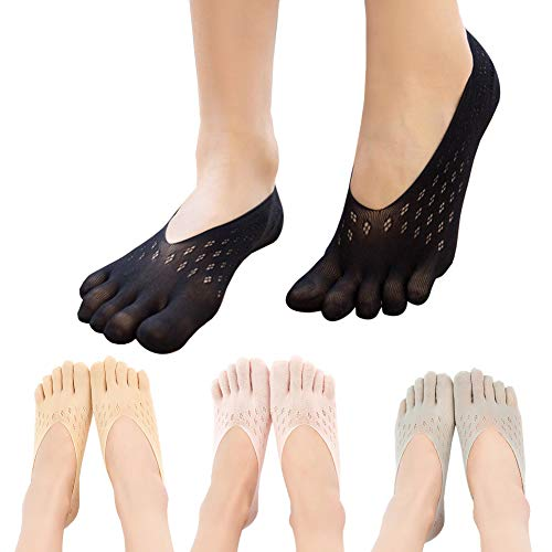 NO Show Running Five Fingers Crew Ankle Toe Socks for Women Ladies 4 Pack
